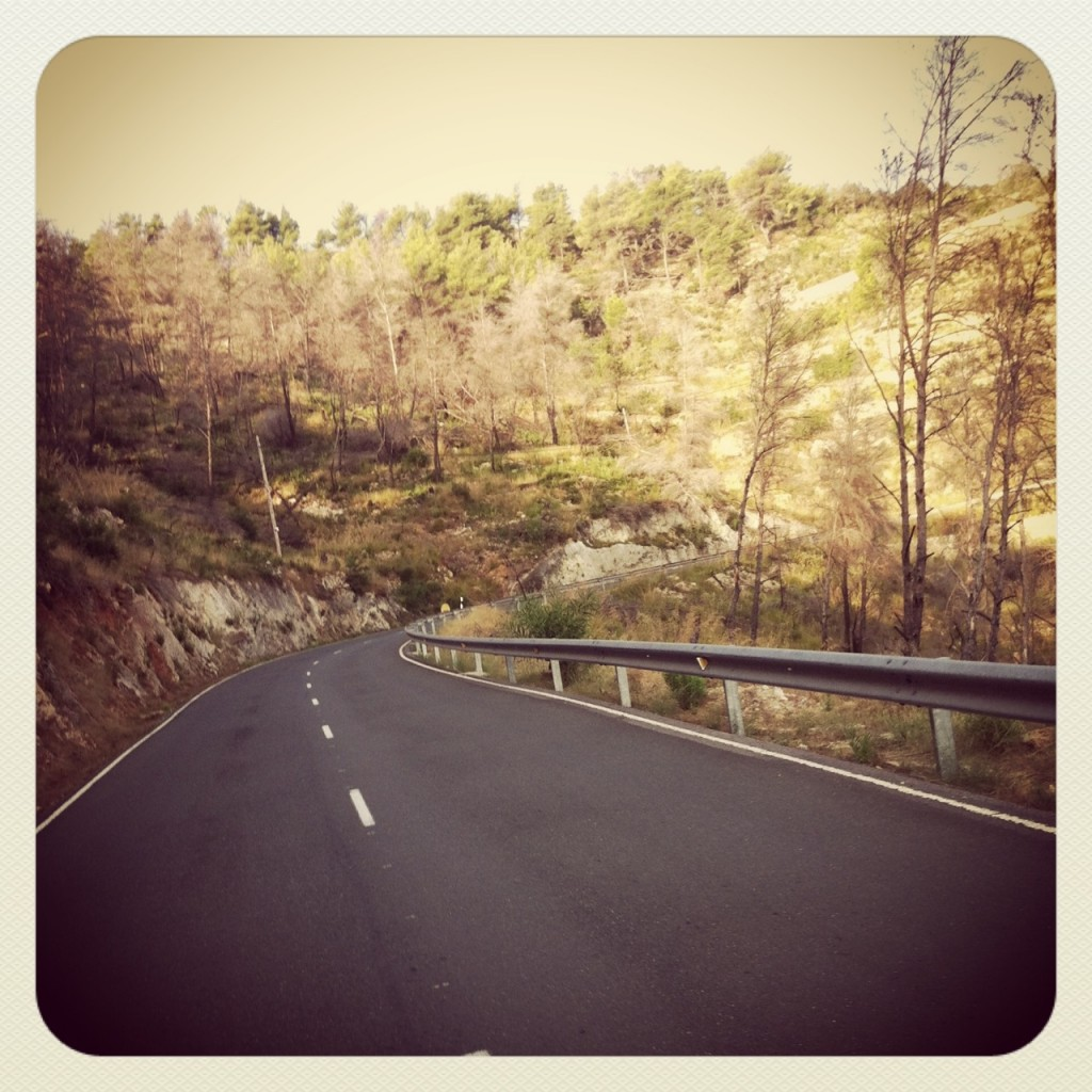 Zero cars on the 9k climb from Cala St Vicent into San Joan