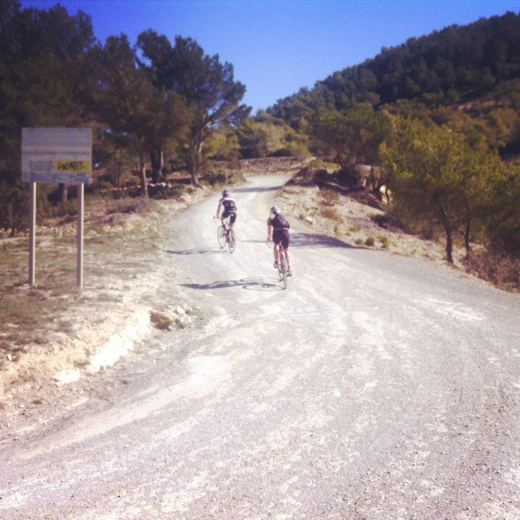 Climbing Sa Talaia on the gravel camino