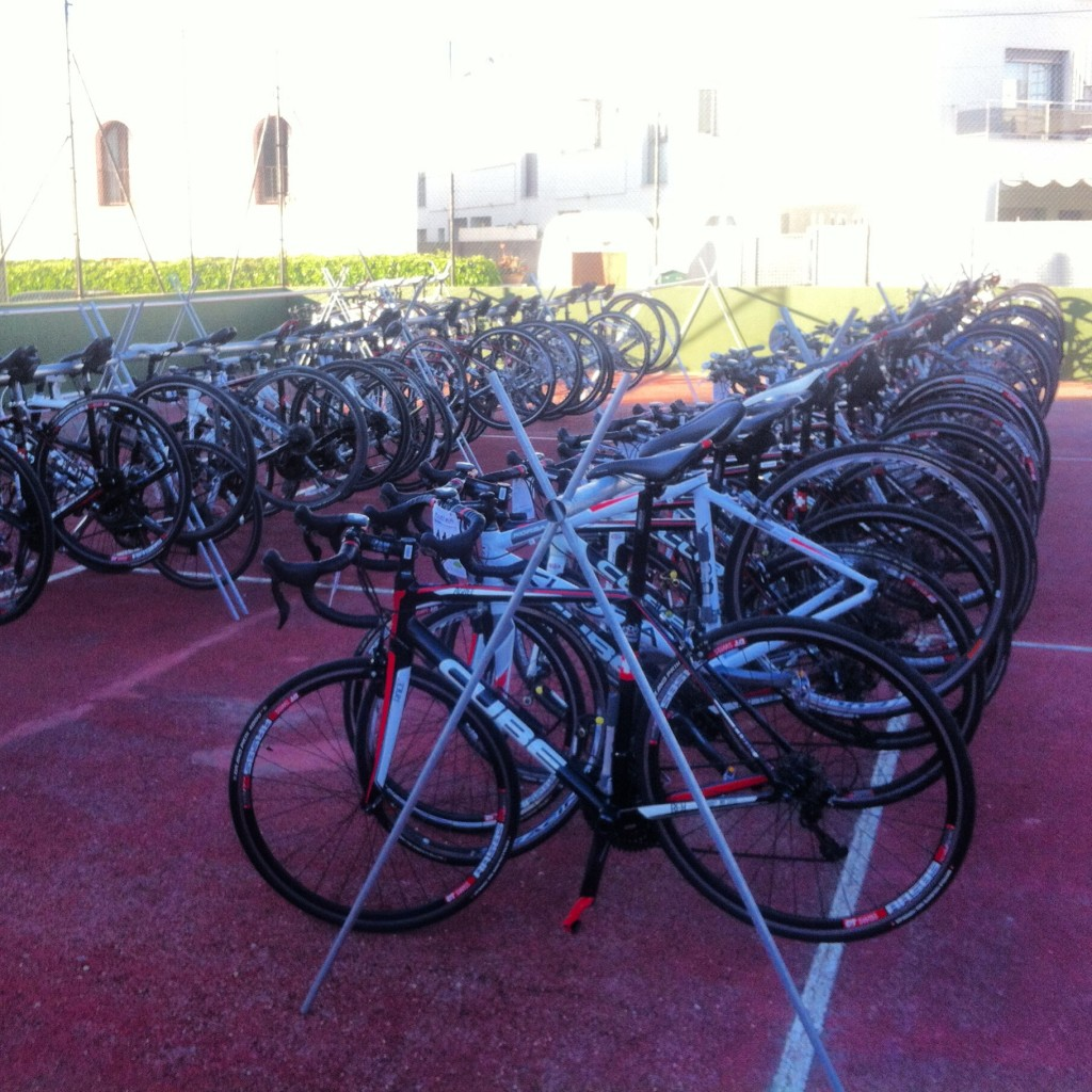 Bikes stacked and racked ready for the off