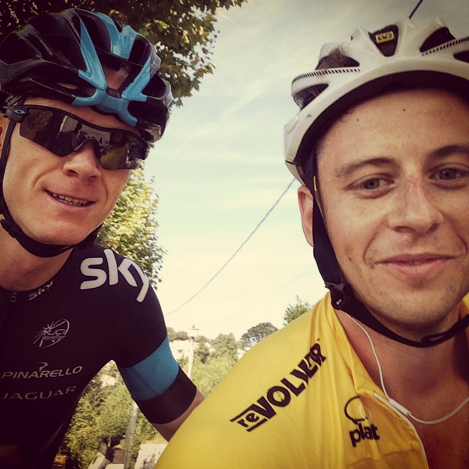 Laurence in his VCI kit on the Col de Madone...and oh yeh Chris Froome