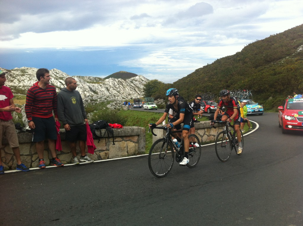 Mikel Nieve and Sammy Sanchez where just off the lead riders up the climb