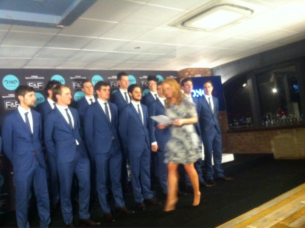 The rather dapper ONE Pro Cycling team being introduced to the media and guests.