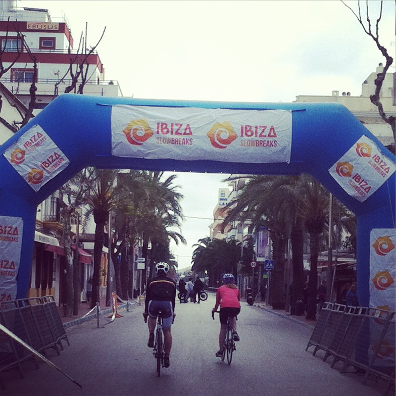 Tom and Emily head through the finish tunnels of the Vuelta Ibiza MTB race